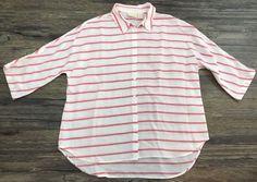 Chicos Striped Blouse Button Down Quarter Sleeve Womens Sz 2* | eBay