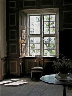 panelled wall and window