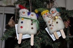 Needle Felted snowman snowcicles
