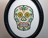 Sugar Skull (version 4) - Framed Cross Stitch (Made to Order)