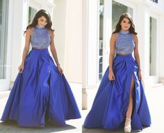 Royal Blue Prom Dresses,2 Piece Prom Gown,Two Piece