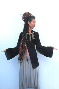 Black Kimono Top, Kimono Cardigan, Wrap Top, Bell Sleeve Top, Japanese Kimono Top, Boho Kimono, Urbanic Tribe on Etsy, 356.86₪