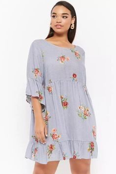Product Name:Plus Size Striped Floral Dress, Category:CLEARANCE_ZERO, Price:35