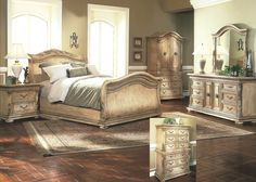 Rhapsody King Size Tufted Sleigh Bed with Exposed Wood Frame by ...