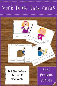 Practice putting verbs into past, present, and future tense using illustrated task cards. Great for ELL learners.#teacherspayteachers #esl #esol #language