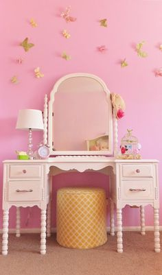 Darling girl's room redo.  Many easy DIY ideas!  I love this one!
