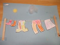 Preschool Crafts for Kids*: Hanging Laundry Clothes Paper Craft