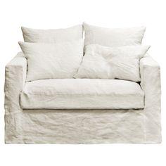 XL crinkled linen armchair Moëze - Home Page Sofa Chair, Armchair, Cap Breton, Linen Couch, Seaside Home Decor, Deep Sofa, White Sofas, Comfortable Sofa, Home Trends