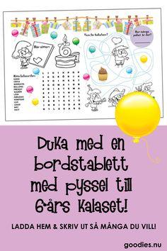 Ladda hem och skriv ut en rolig bordstablett till barnkalaset. Den här är för 6-årskalaset! Dekoration och aktivitet i ett!  #barnkalas #kalas #6-årskalas