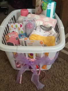 use laundry basket as gift bag for baby shower gifts i used ribbon to add a personal touch. Black Bedroom Furniture Sets. Home Design Ideas