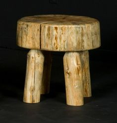 Log Sitting Stool by Viking Log Furniture