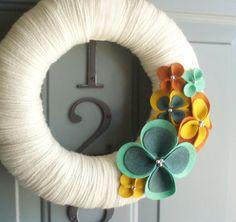 Yarn Wreath Felt Handmade Door Wall Decoration - Warm Up 12in