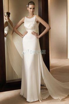 ärmellos bodenlanges Elegantes Brautkleid mit Knöpfen mit Applike $356.99 Brautkleider