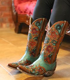 Old Gringo Abelina Turquoise Cowgirl Boots Cowgirl Boots, Western Boots, Riding Boots, Western Style, Leather Sandals, Leather Boots, Mode Country, Turquoise Boots, Coral Boots