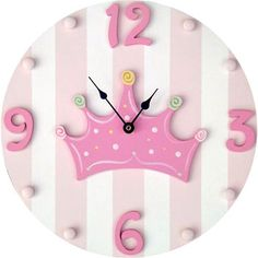 Pink & White Striped Wooden Hand Painted Princess/Crown Kids Wall Clock More Colors Available! Diy Clock, Clock Decor, Wall Clocks, Wooden Crafts, Diy And Crafts, Crafts For Kids, Baby Decor, Nursery Decor, Crown For Kids