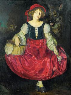 "José Cruz Herrera (Spanish,1860-1934), ""Portrait de Suzanne en Petit Chaperon Rouge"" by sofi01, via Flickr"