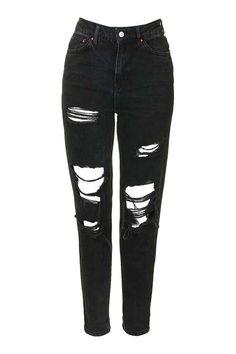 MOTO Washed Black Super Rip Mom Jeans