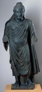 Standing Buddha,                                                                         Pakistan, ancient region of GandharaKushan period (c. 50 B.C.–A.D. 320)c. 2nd–3rd century A.D.Gray schist