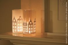 Gorgeous hurricane lanterns with paper liners.