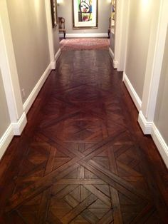 Beautiful Parquet designed and installed by Majestic Wood Floors in Frederick, MD. Material used: Rift & Quarter Sawn White Oak. Wood Floor Pattern, Wood Floor Design, Floor Patterns, Parquet Flooring, Hardwood Floors, Wood Parquet, Quarter Sawn White Oak, Cool House Designs, New Homes