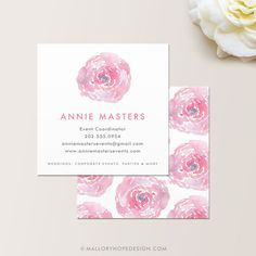 Watercolor Square Business Card / Calling by MalloryHopeDesign