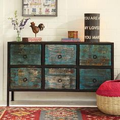 deepwater 6-drawer console (reclaimed wood, distressed black and turqoise for accent)