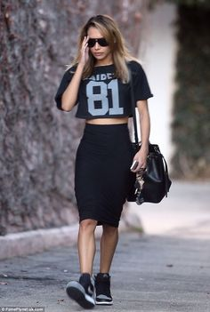 Chic meet Casual: Naya complemented her sporty outfit with some black and white trainers - sport luxe massive 2014 trend...x