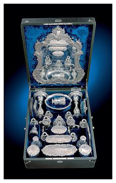 Empress Elisabeth of Austria's sterling & crystal vanity set. Sisi had an elaborate beauty regimen. It took her personal hairdresser at least 3 hours daily to style her hair, which was so long and heavy that it often caused her migraines.