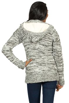 Cable Knit Fur Lined Hoodie