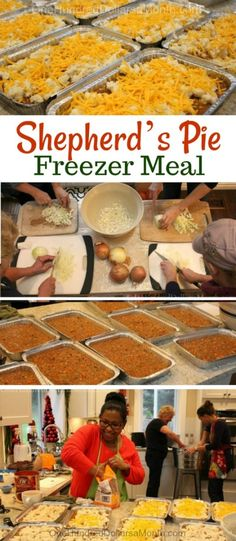 Freezer Meal Shepherd's Pie Recipe - One Hundred Dollars a Month Freezer Meals Freezer Friendly Meals, Make Ahead Freezer Meals, Freezer Cooking, Batch Cooking, Freezer Meal Party, Bulk Cooking, Quick Meals, Pie Recipes, Gourmet Recipes