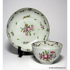 New Hall  Porcelain Tea Bowl & Saucer c1800Marks : Unmarked Origin : English Colour : Polychrome Pattern : Number 241 Features : Sinusoidal red dotted line intersecting a line of leaves and flowers, large central floral spray