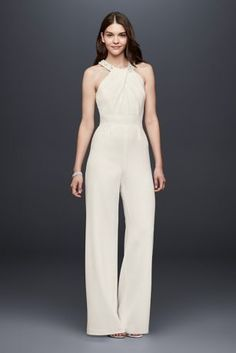 13863350088b This pleated crepe wide-leg jumpsuit is a chic dress alternative perfect  for an informal