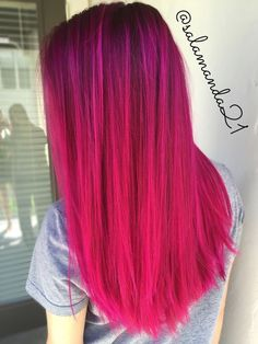 Joico magenta pink extreme color balayage done by me Manda Halladay Amanda Gohn - Trend Hair Makeup Ideas 2019 Cute Hair Colors, Pretty Hair Color, Beautiful Hair Color, Hair Dye Colors, Bright Hair Colors, Colorful Hair, Colours, Pink Hair Dye, Hair Color Pink