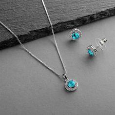 5 Sets Halo Aqua CZ Silver Platinum Plated Bridesmaid Jewelry Bridesmaid Jewelry Sets, Necklace Designs, Earring Set, Diamond Jewelry, Halo, Stud Earrings, Aquamarine Blue, Silver, March