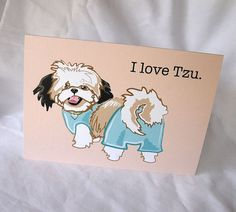 Shih Tzu Love Greeting Card by AfricanGrey on Etsy, $5.50