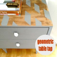 Use painters tape to add a pattern to any piece of furniture