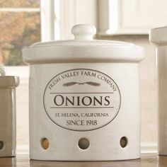 Fresh Valley Canisters: Large, medium, and small. I love these. My onions always just sit on the counter