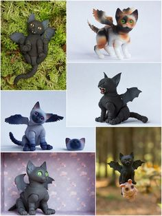 Ball jointed cats have wings! Make your exclusive cat or gift Crochet Toys Patterns, Stuffed Toys Patterns, Cute Baby Animals, Funny Animals, Arte Do Kawaii, Polymer Clay Dolls, Cat Doll, Sculpture Clay, Custom Dolls