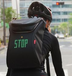 "'SEIL bag' is designed to show left and right signals. Simply, controlling the detachable wireless controller enables various signals. ""Our SEIL Bag is part of a revolution in ""wearable IT""."