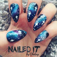 NAILED IT! Hand Painted False Nails - Galaxy Nails by NailedItByChelsey on Etsy https://www.etsy.com/uk/listing/294818625/nailed-it-hand-painted-false-nails