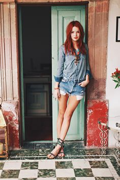 Love a Canadian tux and her hair, via Sea of Shoes.