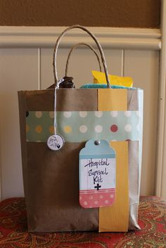 Hospital Survival Kit- it was meant to give a mom when she goes to the hospital to deliver her baby, but it would be fun to make someone who is spending lots of time bedside.