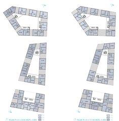 72 Collective Housing Units by LAN Architecture - Dezeen Lan Architecture, Contemporary Architecture, Block Plan, School Building Design, Flat Plan, Plan Drawing, Social Housing, Dezeen, Urban Planning