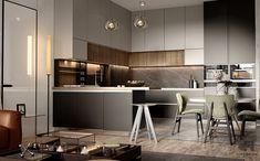 Apartment in jeddah -ksa - Dezign Ark (Beta) Interior Design Career, Interior Decorating Styles, Kitchen Furniture, Kitchen Interior, Adobe Photoshop, Fancy Kitchens, Loft Design, House Design, Behance