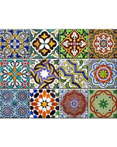 AB2 Set of 24 vintage traditional mexican Tiles Decals