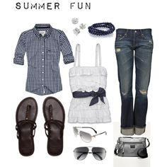 cute! abercrombie shirt, tank and sandals.