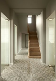 Beautiful entry with Madrid cement tiles. Floor Design, Ceiling Design, House Design, Terrazzo, Flooring For Stairs, Stairways, Home And Living, Interior Inspiration, Interior And Exterior