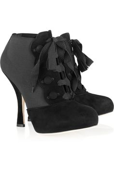 Suede and stretch lace-up ankle boots by Dolce & Gabbana