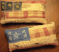 Primitive Pair of Very Tiny Rustic America Patriotic Flag Shelf Pillow Bowl Fillers From Vintage Quilt & Buttons
