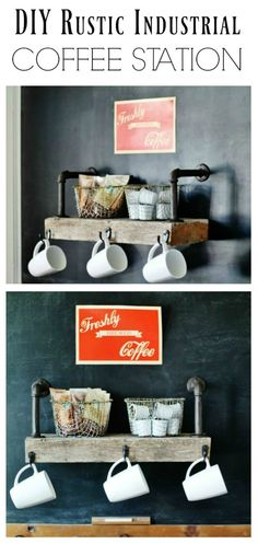 DIY Rustic Industrial Style Coffee Shop Shelf. This is something your family and guests will both enjoy!